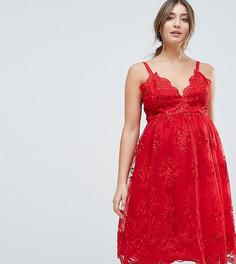 Кружевное платье миди Chi Chi London Maternity Premium - Красный