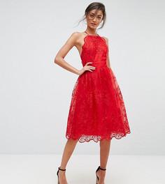 Кружевное платье с высоким воротом и фигурным краем Chi Chi London Tall - Красный