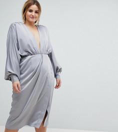 Платье миди с подплечниками и длинными рукавами ASOS CURVE - Белый