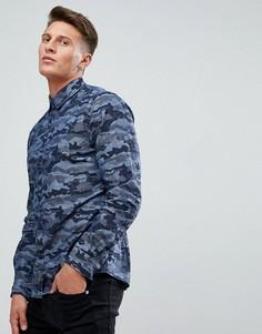 Синяя рубашка с камуфляжным принтом Esprit - Синий
