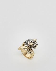 Кольцо в форме змеи с камнями Monki - Золотой