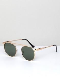 Круглые солнцезащитные очки с планкой над переносицей AJ Morgan Techie - Золотой