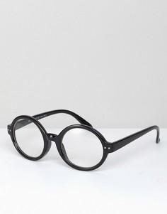 Круглые очки с прозрачными стеклами в черной оправе AJ Morgan Carter - Черный