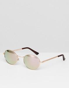 Круглые солнцезащитные очки цвета розового золота AJ Morgan - Золотой