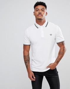 Белая узкая футболка-поло с контрастным воротником Fred Perry - Белый