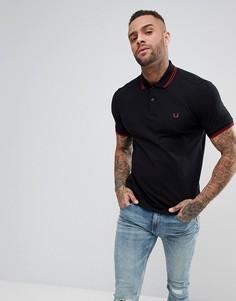 Черная узкая футболка-поло с контрастным воротником Fred Perry - Черный