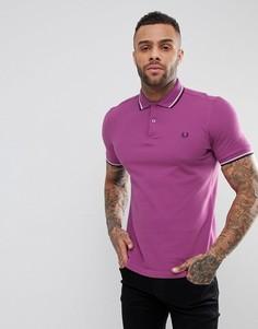 Сиреневая футболка-поло узкого кроя с двойным кантом Fred Perry - Фиолетовый