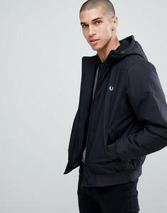 Черная стеганая куртка с капюшоном Fred Perry Brentham - Черный