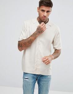 Однотонная рубашка с отложным воротником и короткими рукавами Another Influence - Светло-бежевый