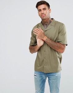 Однотонная рубашка с отложным воротником и короткими рукавами Another Influence - Зеленый