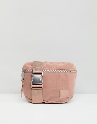 Бархатная сумка-кошелек на пояс Herschel Fifteen - Розовый