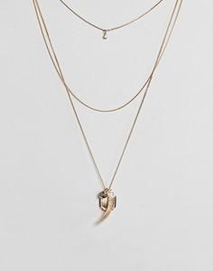 Ожерелье в несколько рядов с монетами и подвесками ASOS - Золотой