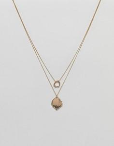 Многорядное ожерелье с подвесками ASOS - Золотой