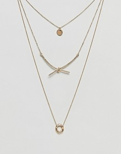 Многорядное ожерелье с подвесками в виде диска и узла ASOS - Золотой