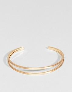 Браслет-манжета с дизайном в два ряда ASOS - Золотой