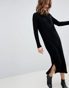 Платье миди в широкий рубчик ASOS - Черный