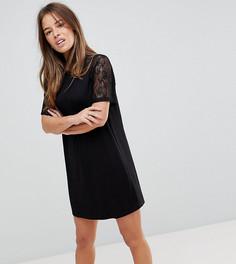 Платье-футболка с кружевными рукавами реглан ASOS PETITE - Черный