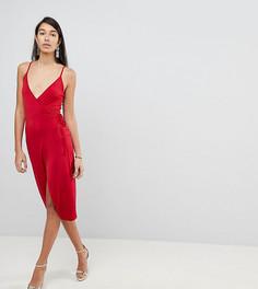 Облегающее платье миди с запахом ASOS TALL - Красный