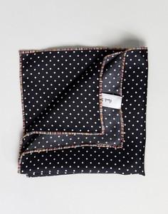 Шелковый черный платок в горошек для нагрудного кармана Paul Smith - Черный