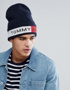 Темно-синяя шапка-бини с логотипом Tommy Jeans - Темно-синий