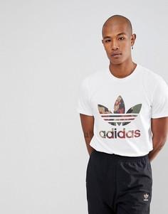 Белая футболка с логотипом-трилистником и принтом Hu Hiking adidas Originals x Pharrell Williams CY7869 - Белый