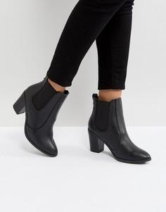 Полусапожки из искусственной кожи на каблуке с заостренным носком New Look - Черный