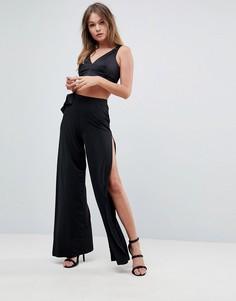 Широкие брюки с бантом ASOS - Черный