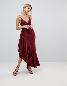 Платье миди с оборками C/Meo Collective Ember - Красный