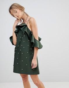 Декорированное платье C/Meo Collective Assemble - Зеленый