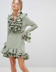 Платье с оборками C/Meo Collective Immerse - Зеленый
