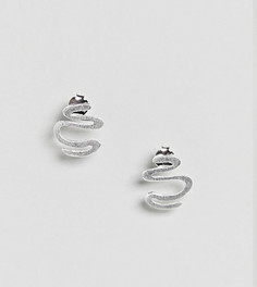 Серебряные фактурные извилистые серьги ASOS - Серебряный