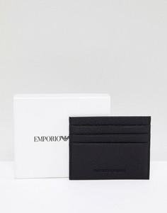 Черная кредитница из зернистой кожи с логотипом Emporio Armani - Черный