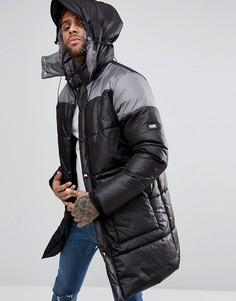 Дутое пальто длиной 3/4 Puffa - Черный