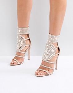 Атласные босоножки на каблуке цвета розового золота Public Desire Cleopatra - Золотой