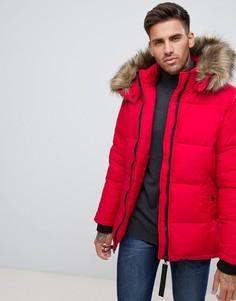 Красная дутая куртка с искусственным мехом на капюшоне River Island - Красный