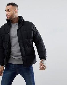 Черная дутая куртка с капюшоном Schott Nebraska - Черный