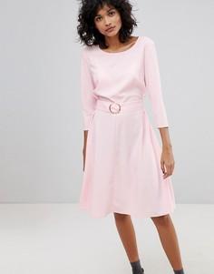 Платье миди с поясом и кольцом 2nd Day - Розовый