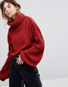 Вязаный oversize-джемпер с узором в косичку и пышными рукавами Rokoko - Красный