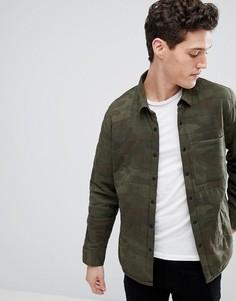 Зеленая стеганая куртка с камуфляжным принтом Abercrombie & Fitch Sport - Зеленый