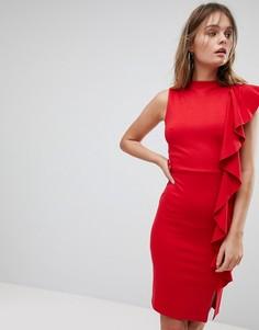 Платье-футляр с оборкой и высоким воротом Lipsy - Красный