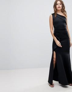 Платье макси на одно плечо с оборкой Lipsy - Черный