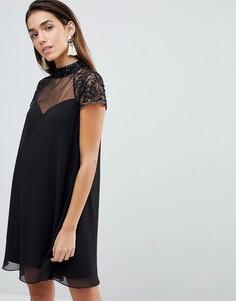 Свободное платье с кружевными рукавами Lipsy - Черный