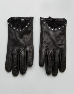 Кожаные перчатки с заклепками Boardmans - Черный