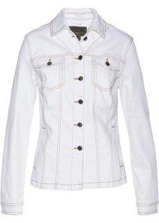 Джинсовая куртка с вышивкой (белый) Bonprix