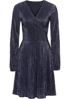 Платье из блестящего трикотажа с плиссировкой (темно-синий) Bonprix
