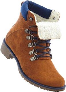 Ботинки на шнуровке (верблюжий/темно-синий) Bonprix