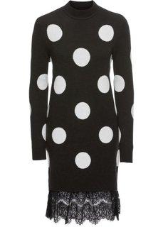 Платье вязаное с кружевным подолом (черный/белый) Bonprix