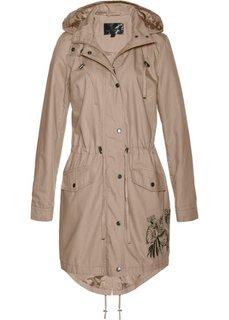 Куртка-парка с вышивкой (камышово-бежевый) Bonprix