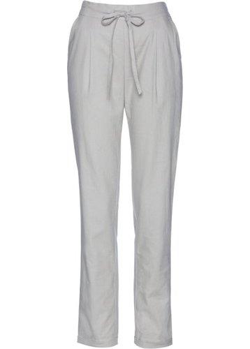 Льняные брюки с текстильным поясом (серый)