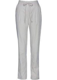 Льняные брюки с текстильным поясом (серый) Bonprix